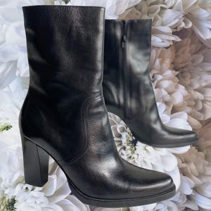 Y2K Candie's Leather Heeled Boots Size 8.5